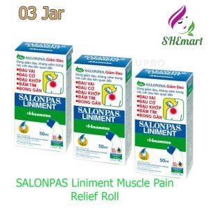 03 Jar SALONPAS Liniment Muscle Pain Relief Roll On Bottle Liquid 50ml
